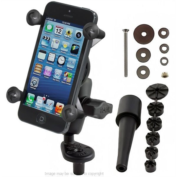 RAM X-Grip iPhone 5c Holder with Short Double Socket Arm and Fork Stem Mount (18269)