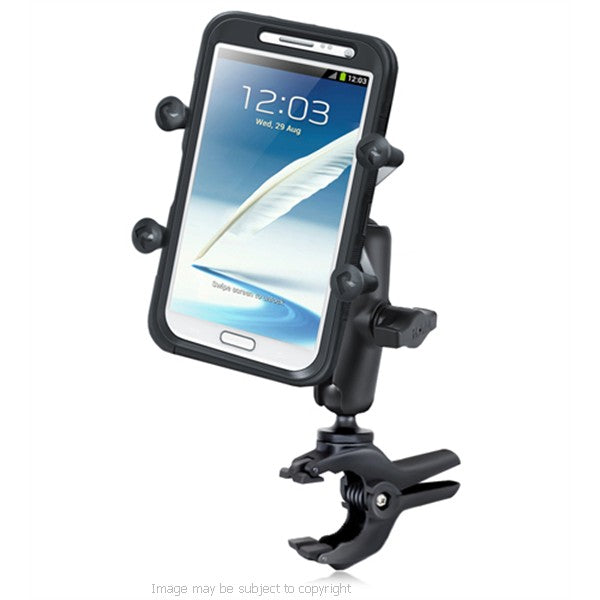 RAM Small Tough-Clamp with Double Socket Arm & Universal X-Grip IV Large Phone-Phablet Holder. (sku 18509)