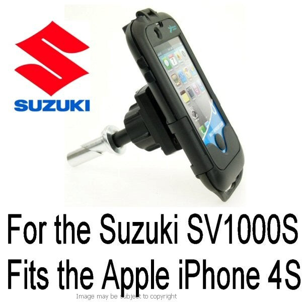Suzuki SV1000S all years 13mm Central Fork Stem Yoke Motorcycle Mount & Waterproof TOUGH Case for the Apple iPhone 4S (sku 13430)