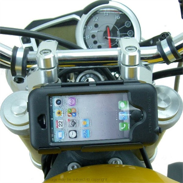 Hella - DIN Powered 20.5mm-24.5mm iPhone 5S Motorcycle Fork Stem Tough Case Yoke Mount (sku 17602)