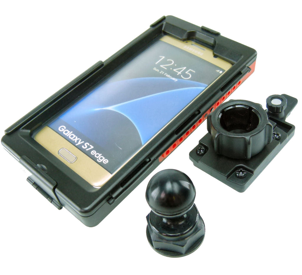 Yoke 30 Motorcycle Nut Cap Mount & Tigra Bespoke SMART5 Case for Samsung Galaxy S7 EDGE (sku 35182)
