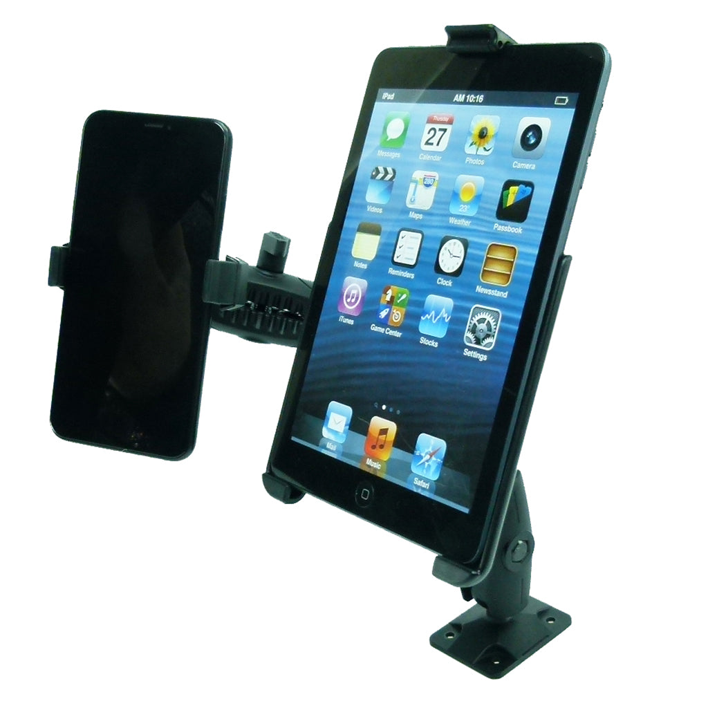 Permanent Screw Fleet Dash Multiple Mount Holds iPad MINI 4 and Phone (sku 44137)