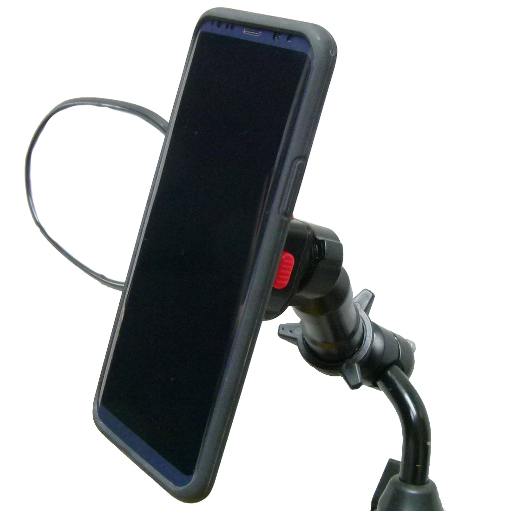 Extended Scooter Mirror mount & TiGRA Case for Samsung Galaxy S8 PLUS (sku 45362)
