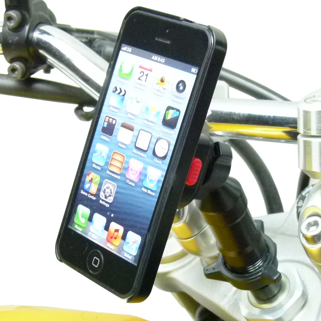 Universal Extended Motorcycle Stem Mount and TiGRA Fitclic Case for iPhone 5C (sku 45585)