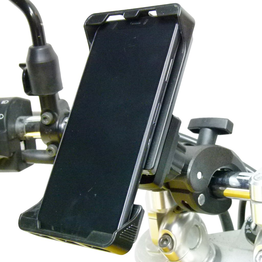 Adjustable Robust Motorbike Clamp Mount with Rain Cover for iPhone XS (sku 49710) - BuyBits Ltd UK