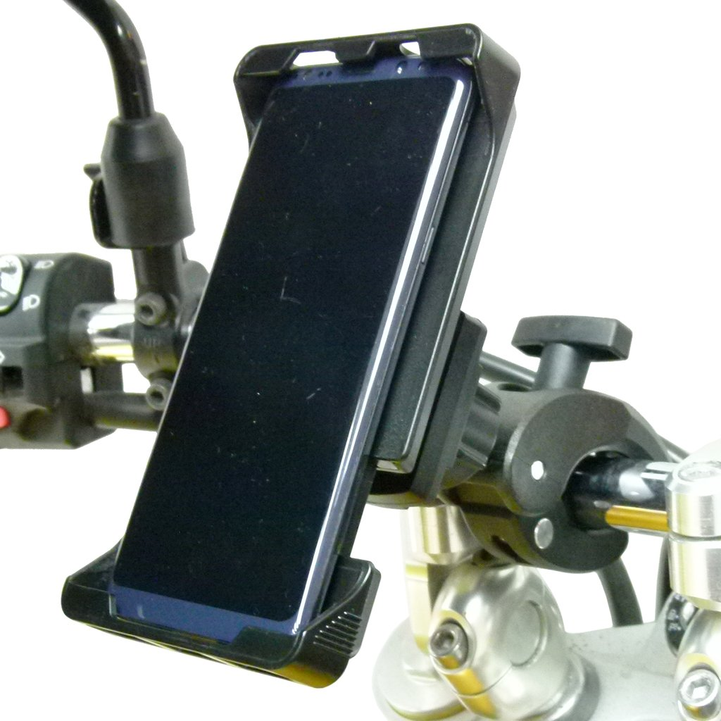 Adjustable Robust Motorbike Clamp Mount with Rain Cover for Samsung Galaxy S10 (sku 49725) - BuyBits Ltd UK