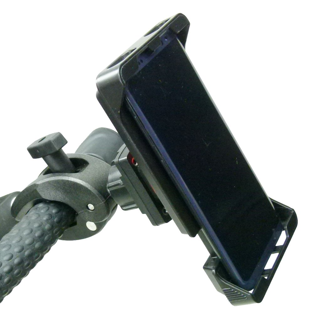 Adjustable Robust Golf Trolley Clamp Mount with Rain Cover for Samsung Galaxy S10 PLUS (sku 49781) - BuyBits Ltd UK