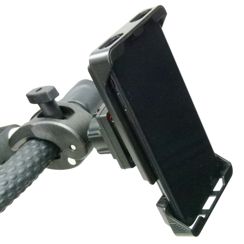 Adjustable Robust Golf Trolley Clamp Mount with Rain Cover for iPhone SE (sku 49777) - BuyBits Ltd UK