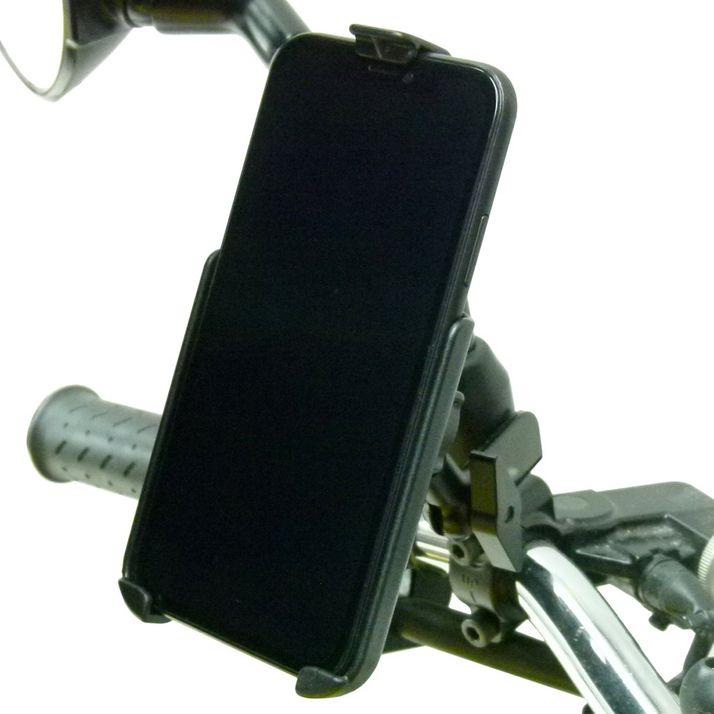 M8 - M10 Motorcycle Mirror Mount with Dedicated RAM Holder for iPhone XR (sku 50311) - BuyBits Ltd UK