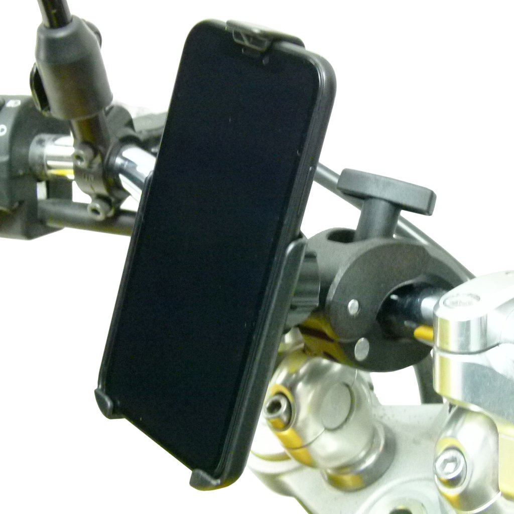 Robust Motorbike Clamp Mount with Dedicated RAM Holder for iPhone XR (sku 50312) - BuyBits Ltd UK