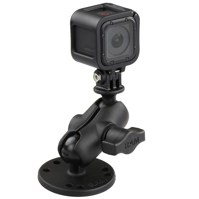 RAM Drill-Down Double Ball Mount with Universal Action Camera Adapter (RAM-B-138-A-GOP1U) (sku 51147) - BuyBits Ltd UK