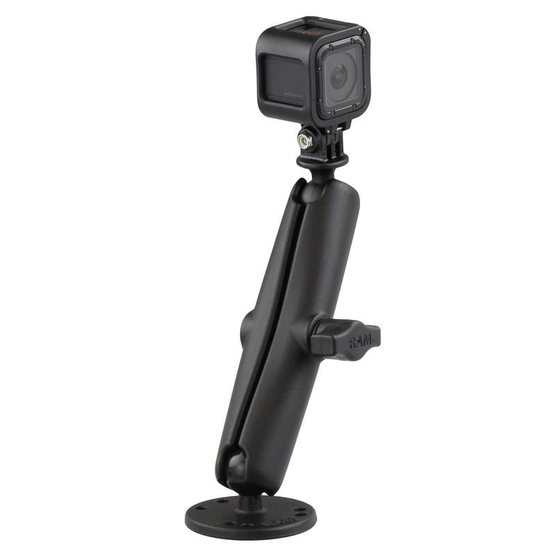 RAM Drill-Down Mount with Double Socket Arm with Action Camera Adapter (RAM-B-138-C-GOP1) (sku 51148) - BuyBits Ltd UK