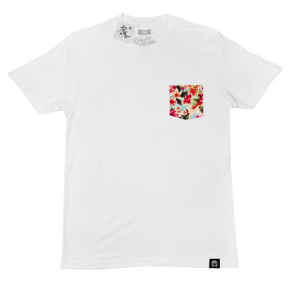 Rebul Collection White T-Shirt Floral Biscayne Pocket