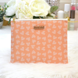 Leopard Hearts Pouch - Orange