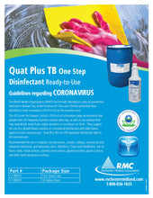 Load image into Gallery viewer, Quat Plus TB One Step Ready-to-Use Disinfectant Guidelines regarding coronavirus
