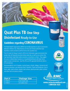 Quat Plus TB One Step Ready-to-Use Disinfectant Guidelines regarding coronavirus