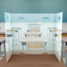 Load image into Gallery viewer, Portable sneeze guard on top of a student desk in classroom