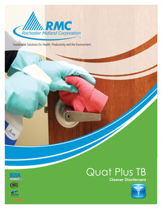 Gloved hand using Quat Plus TB One Step Ready-to-Use Disinfectant to sanitize door handle