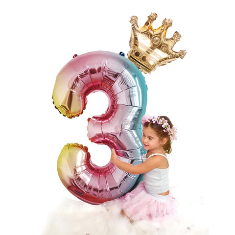 "32"" Rainbow Foil Numbers w/ Crown Topper - The Balloon Diaries"