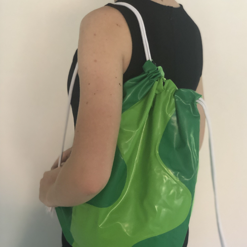 Pullcord bag ideal for swimming or sports made from recycled pooltoys