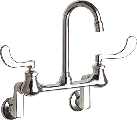 "Chicago Faucet Company Wall Mount Off Set Hospital Sink Faucet with with 3-1/2"" Rigid/Swing Gooseneck Spout, Chrome, Lead Free"