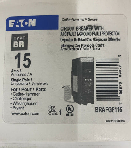 Cutler Hammer BR Single Pole 15amp AFCI/GFCI Circuit Breaker BRAFG115