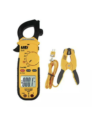 UEi DL479 COMBO True-RMS AC HVAC/R Clamp Meter, 750VAC/600VDC, 600AAC