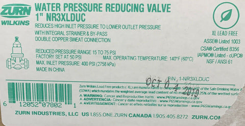 "WILKINS NR3XLDUC 1"" LEAD FREE WATER PRESSURE REGULATOR (PRV) DOUBLE UNION SWEAT"
