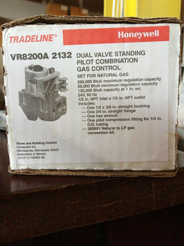 Honeywell Dual Valve Standing Pilot Combination Gas Control VR8200A2132
