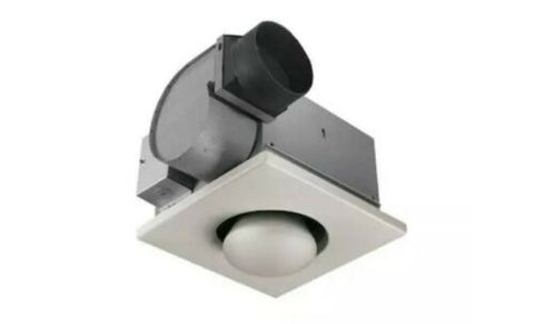 Fan with Infrared Bulbs 4-Sone 70-CFM White Bathroom Fan and Heater Square