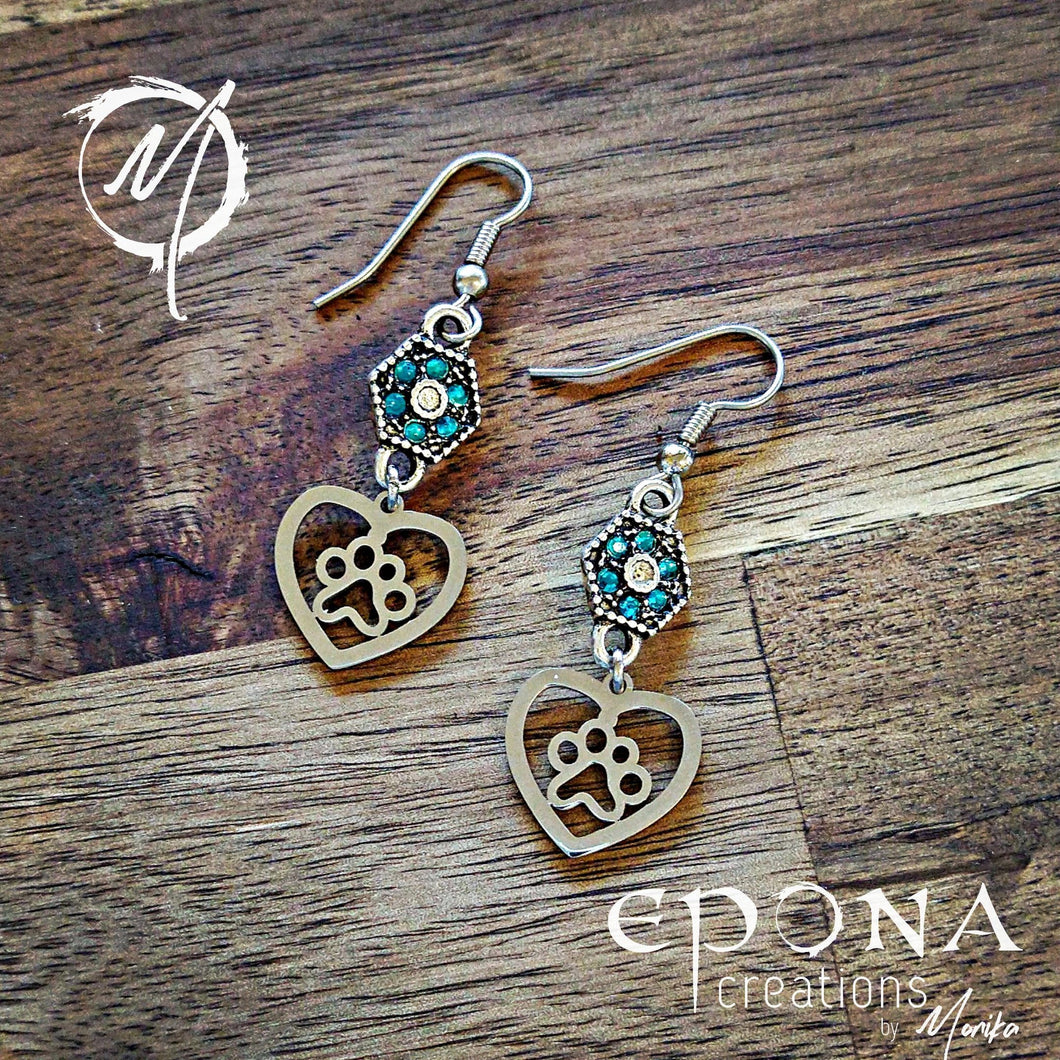 Paw Print and Heart Charm Earrings with Rhinestones
