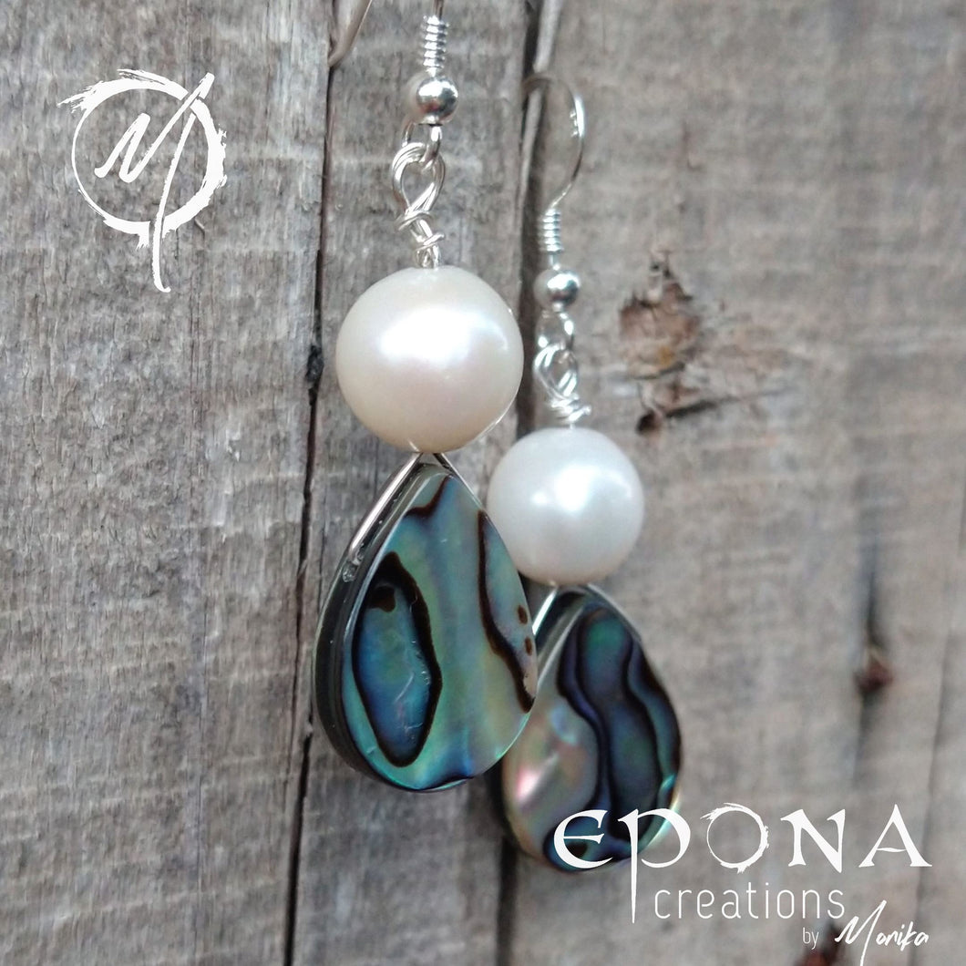 Freshwater pearls and Paua shell silver earrings