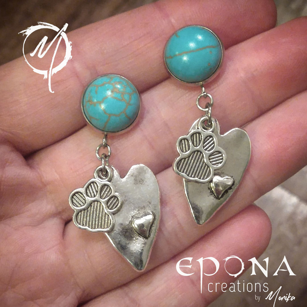 Paw Prints on my Heart Earrings with Turquoise coloured Studs