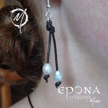 "Load image into Gallery viewer, ""Pearl Drops"" Earrings or Necklace with stainless steel and leather"