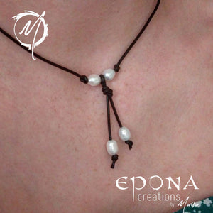 """Pearl Drops"" Earrings or Necklace with stainless steel and leather"