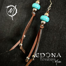Load image into Gallery viewer, Western Country Boho Tassle Leather earrings with Turquoise