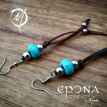 Load image into Gallery viewer, Close up of Western Country Boho Tassle Leather earrings with Turquoise
