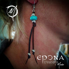 Load image into Gallery viewer, Western Country Boho Tassle Leather earrings with Turquoise on ear