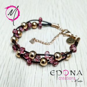 Rose gold pink stainless steel leather bracelet by Epona Creations Australia
