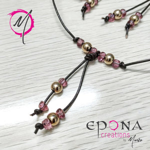 Rose gold pink stainless steel leather necklace