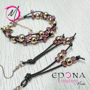 Rose gold pink stainless steel leather bracelet and earrings