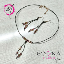Load image into Gallery viewer, Rose gold pink stainless steel leather necklace and earrings