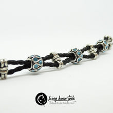 Load image into Gallery viewer, Double Strand Braided Horsehair Bracelet with Blue Bead using Horse Hair