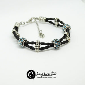 Double Strand Braided Horsehair Bracelet with Blue Bead using Horse Hair