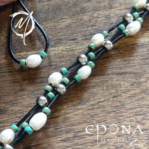 Freshwater Pearl and Sea Green Glass Beaded Leather Bracelet