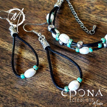 Load image into Gallery viewer, Freshwater Pearl and Sea Green Glass Beaded Leather Anklet