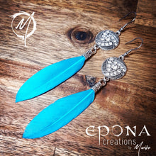 Load image into Gallery viewer, Blue Rhinestone and Feather Earrings handmade custom jewellery and gifts epona creations by monika made in australia