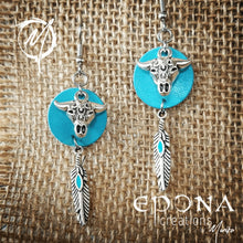 Load image into Gallery viewer, Blue with enamel feather Leather, Cow Skull and feather tassel earrings handmade custom jewellery and gifts epona creations by monika made in australia