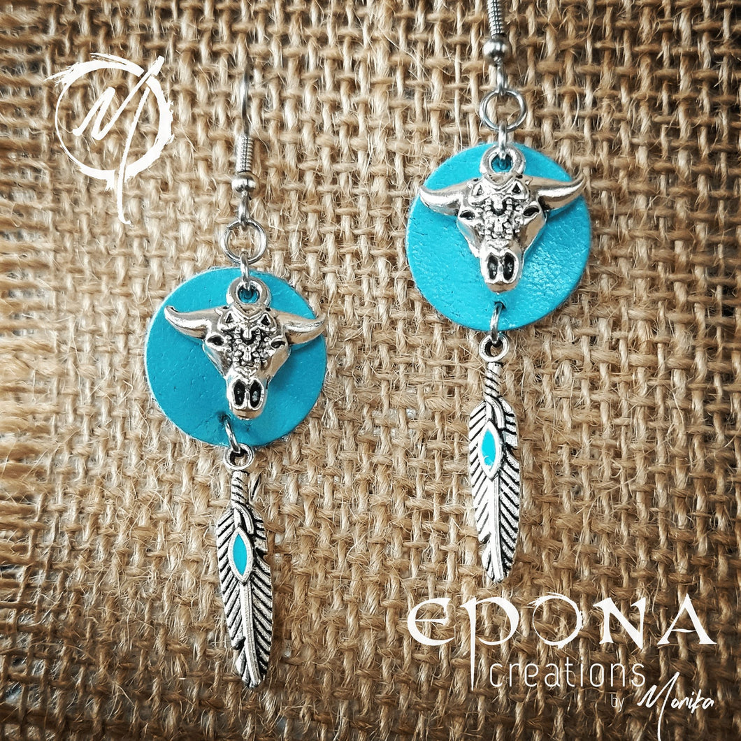 Blue with enamel feather Leather, Cow Skull and feather tassel earrings handmade custom jewellery and gifts epona creations by monika made in australia