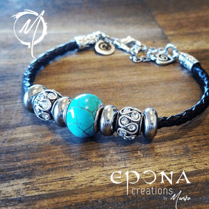 Brown / Black Turquoise Look Beaded Leather Bracelet by Epona Creations handmade custom jewellery and gifts epona creations by monika made in australia